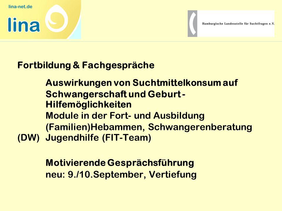 Fortbildung & Fachgespräche Auswirkungen von Suchtmittelkonsum auf Schwangerschaft und Geburt - Hilfemöglichkeiten Module in der Fort- und Ausbildung (Familien)Hebammen, Schwangerenberatung (DW) Jugendhilfe (FIT-Team) Motivierende Gesprächsführung neu: 9./10.September, Vertiefung