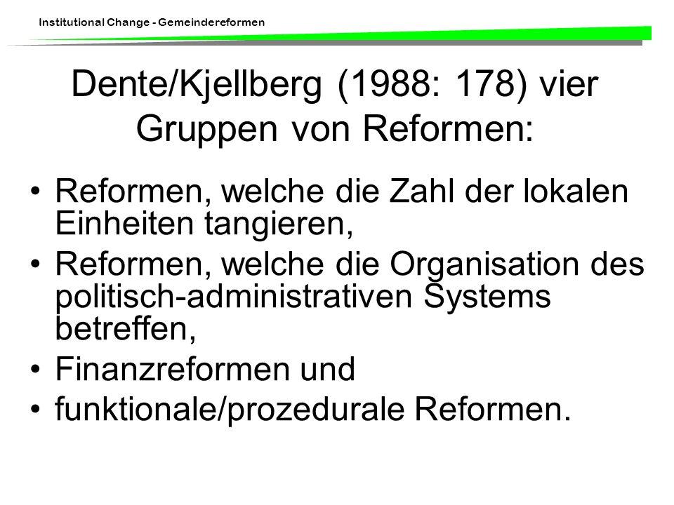 Institutional Change - Gemeindereformen Dente/Kjellberg (1988: 178) vier Gruppen von Reformen: Reformen, welche die Zahl der lokalen Einheiten tangieren, Reformen, welche die Organisation des politisch-administrativen Systems betreffen, Finanzreformen und funktionale/prozedurale Reformen.