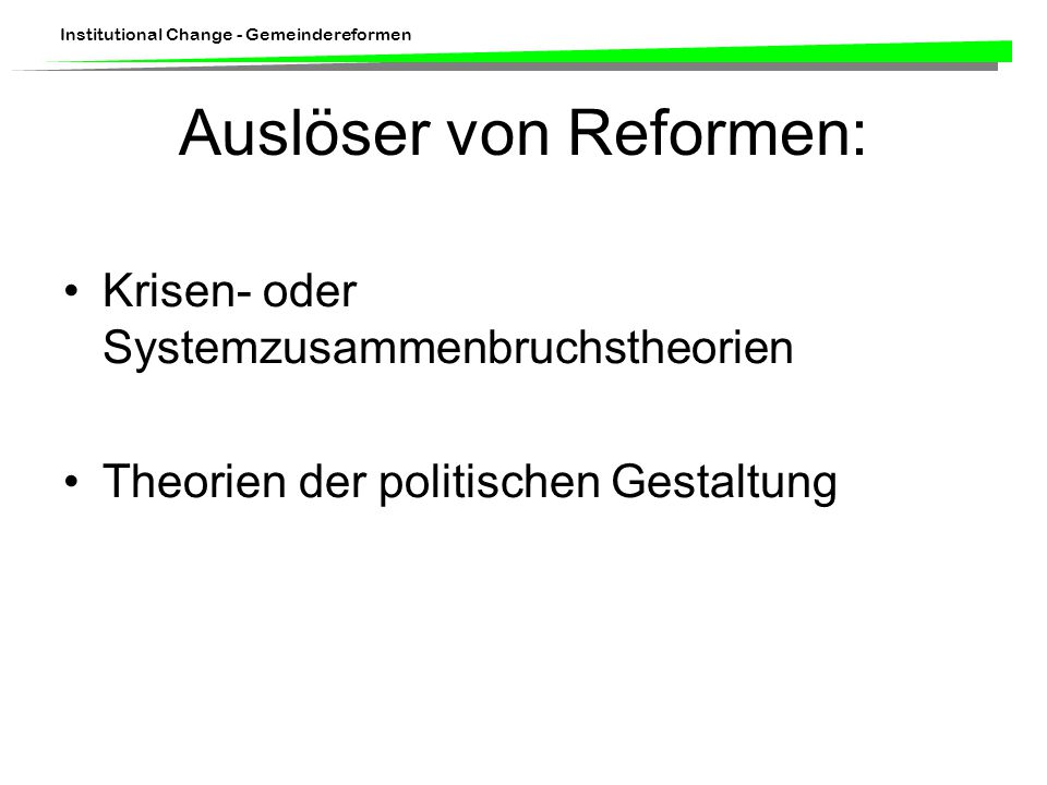 Institutional Change - Gemeindereformen