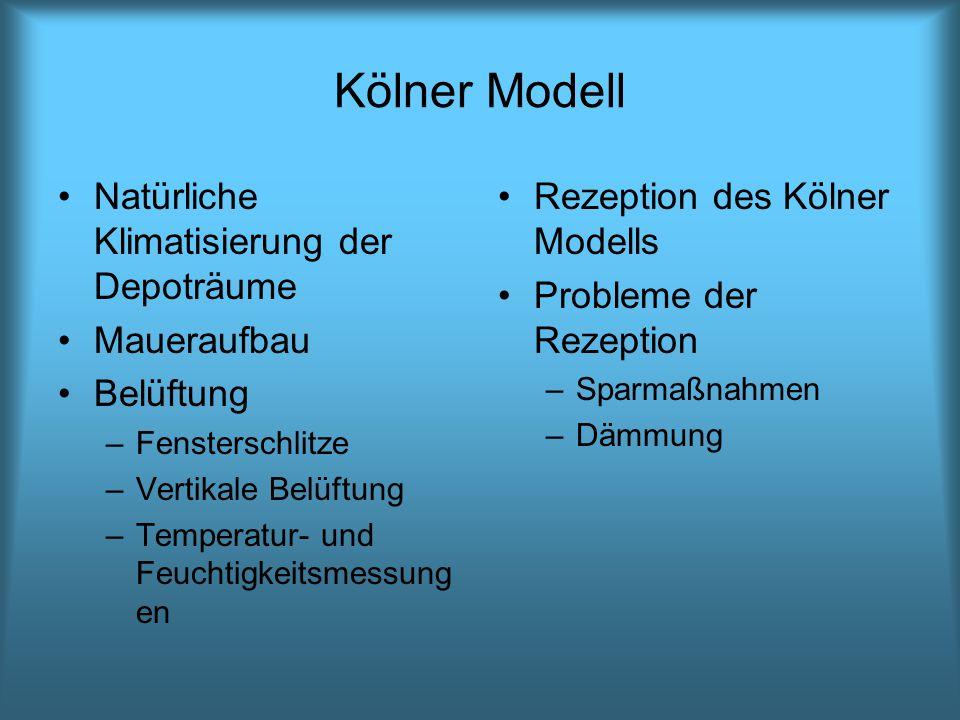 Kölner Modell Natürliche Klimatisierung der Depoträume Maueraufbau Belüftung –Fensterschlitze –Vertikale Belüftung –Temperatur- und Feuchtigkeitsmessu