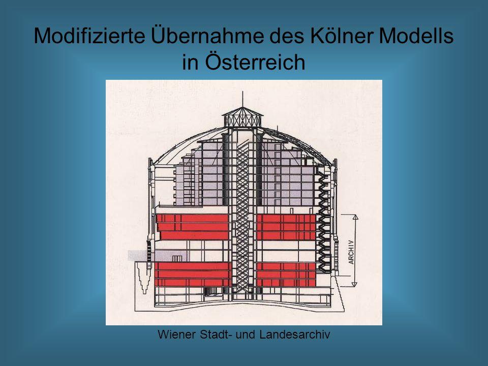 Modifizierte Übernahme des Kölner Modells in Österreich Wiener Stadt- und Landesarchiv