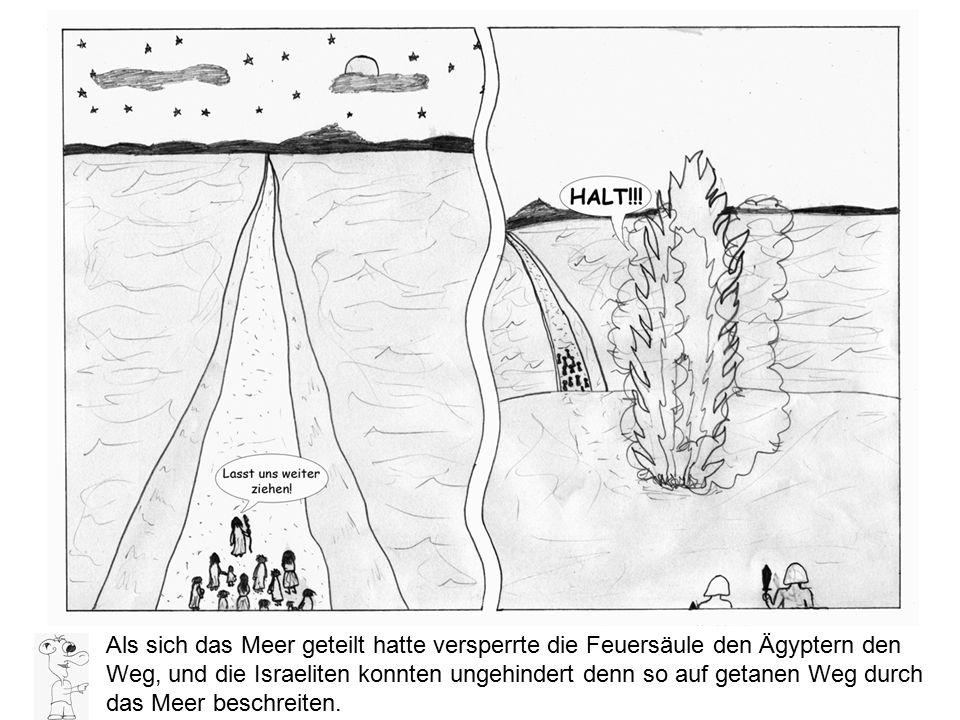 Als sich das Meer geteilt hatte versperrte die Feuersäule den Ägyptern den Weg, und die Israeliten konnten ungehindert denn so auf getanen Weg durch d