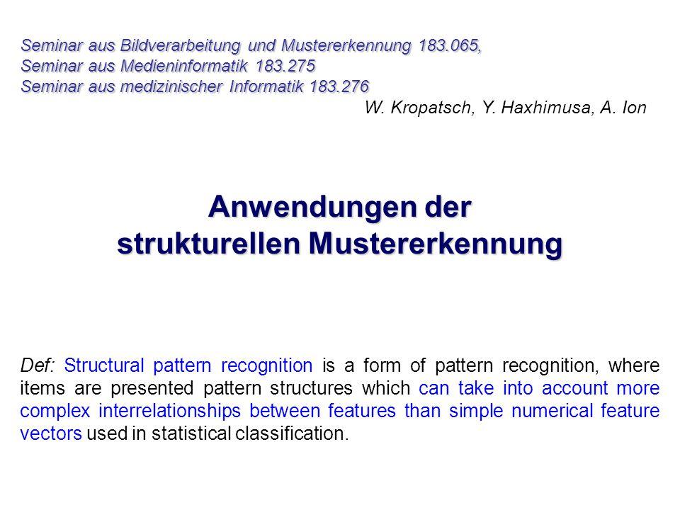 Seminar aus Bildverarbeitung und Mustererkennung 183.065, Seminar aus Medieninformatik 183.275 Seminar aus medizinischer Informatik 183.276 W.