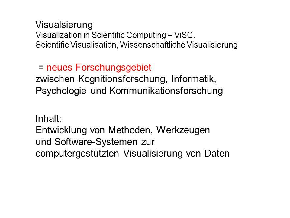 Visualsierung Visualization in Scientific Computing = ViSC. Scientific Visualisation, Wissenschaftliche Visualisierung = neues Forschungsgebiet zwisch