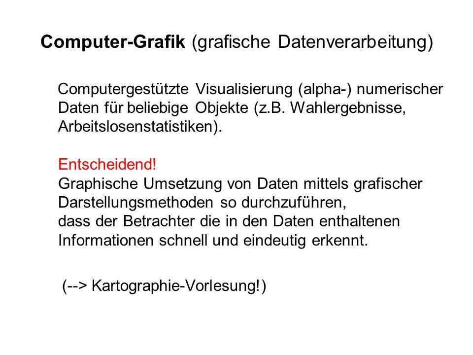 Computer-Grafik (grafische Datenverarbeitung) Computergestützte Visualisierung (alpha-) numerischer Daten für beliebige Objekte (z.B.
