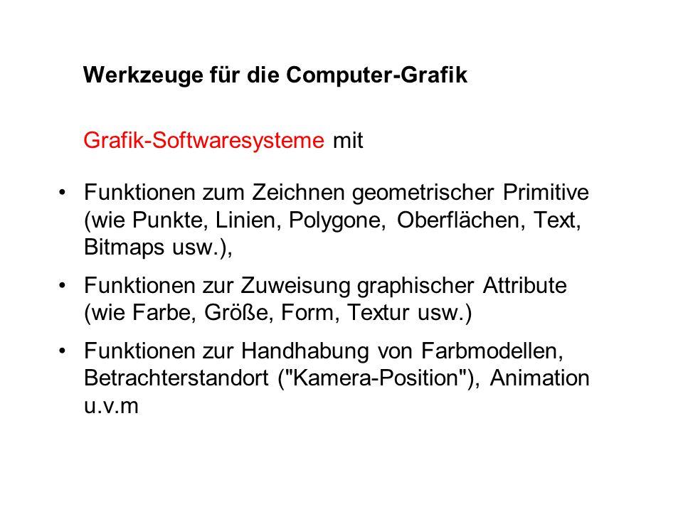 Werkzeuge für die Computer-Grafik Grafik-Softwaresysteme mit Funktionen zum Zeichnen geometrischer Primitive (wie Punkte, Linien, Polygone, Oberfläche