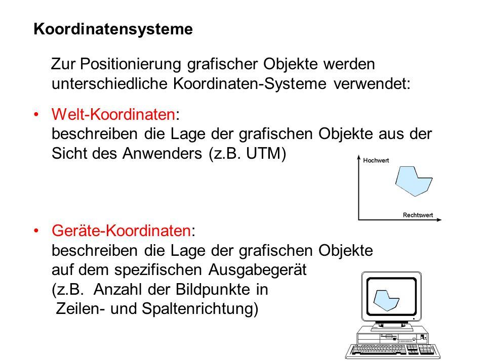 Koordinatensysteme Zur Positionierung grafischer Objekte werden unterschiedliche Koordinaten-Systeme verwendet: Welt-Koordinaten: beschreiben die Lage der grafischen Objekte aus der Sicht des Anwenders (z.B.
