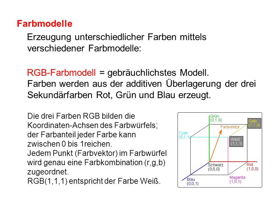 Farbmodelle Erzeugung unterschiedlicher Farben mittels verschiedener Farbmodelle: RGB-Farbmodell = gebräuchlichstes Modell. Farben werden aus der addi