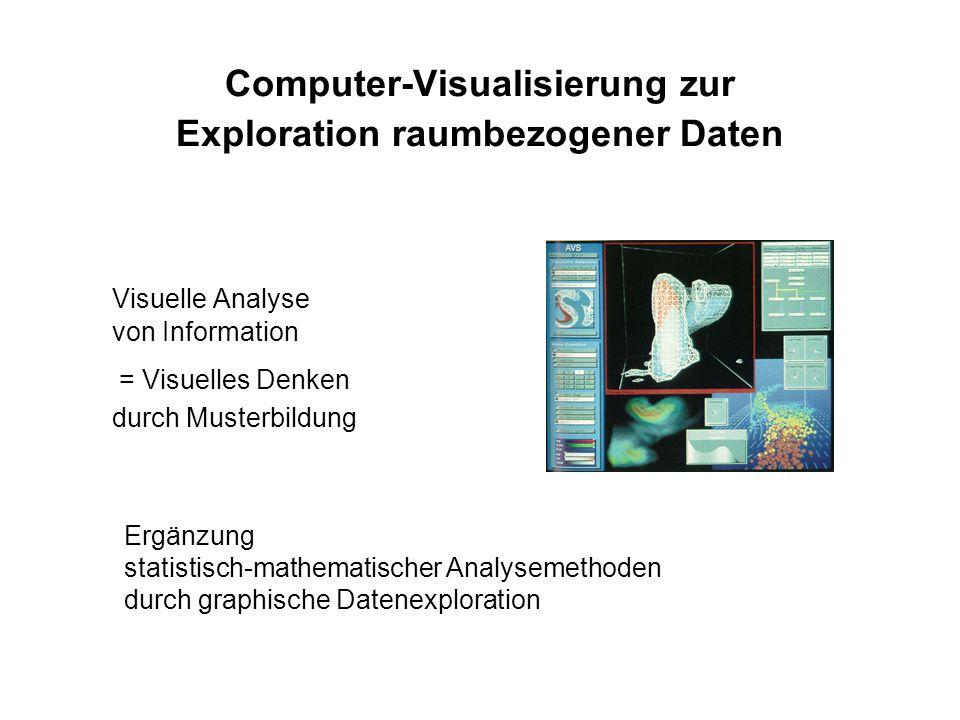 Computer-Visualisierung zur Exploration raumbezogener Daten Visuelle Analyse von Information = Visuelles Denken durch Musterbildung Ergänzung statistisch-mathematischer Analysemethoden durch graphische Datenexploration