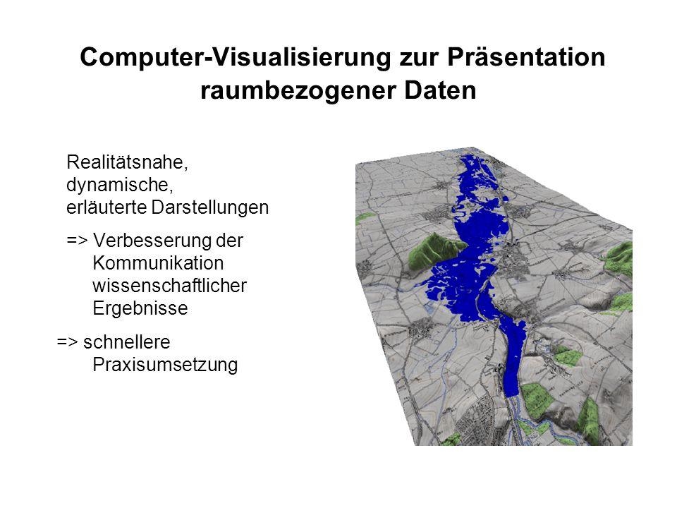 Computer-Visualisierung zur Präsentation raumbezogener Daten Realitätsnahe, dynamische, erläuterte Darstellungen => Verbesserung der Kommunikation wissenschaftlicher Ergebnisse => schnellere Praxisumsetzung
