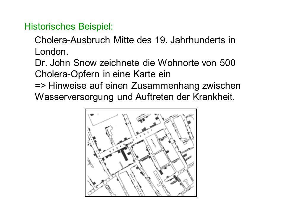 Historisches Beispiel: Cholera-Ausbruch Mitte des 19. Jahrhunderts in London. Dr. John Snow zeichnete die Wohnorte von 500 Cholera-Opfern in eine Kart