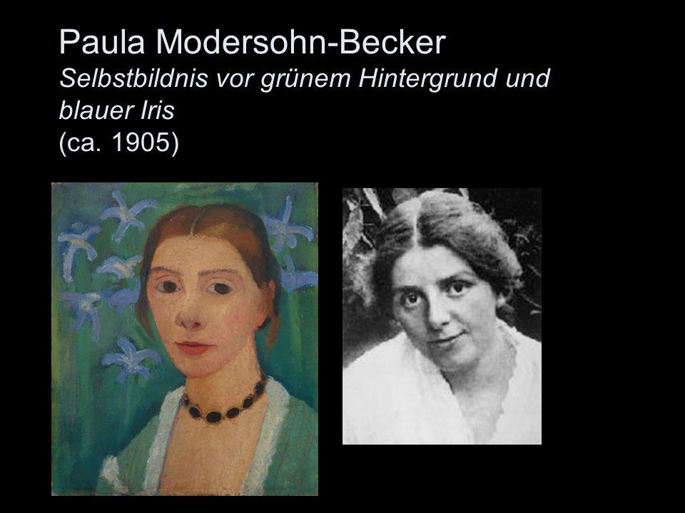Paula Modersohn-Becker Selbstbildnis vor grünem Hintergrund und blauer Iris (ca. 1905)