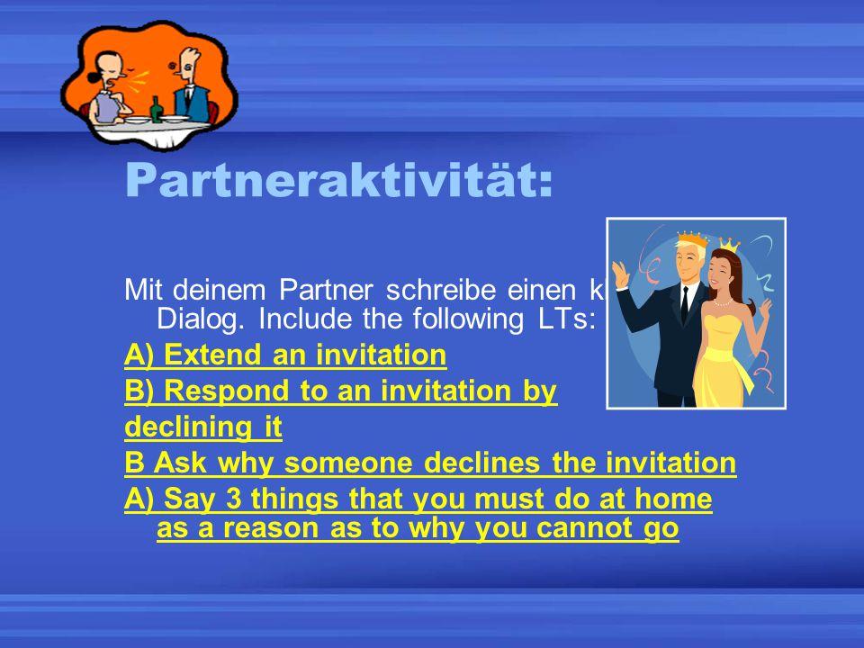 Partneraktivität: Mit deinem Partner schreibe einen kleinen Dialog.