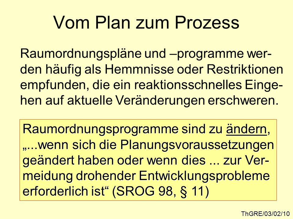 Vom Plan zum Prozess ThGRE/03/02/10 Raumordnungspläne und –programme wer- den häufig als Hemmnisse oder Restriktionen empfunden, die ein reaktionsschnelles Einge- hen auf aktuelle Veränderungen erschweren.