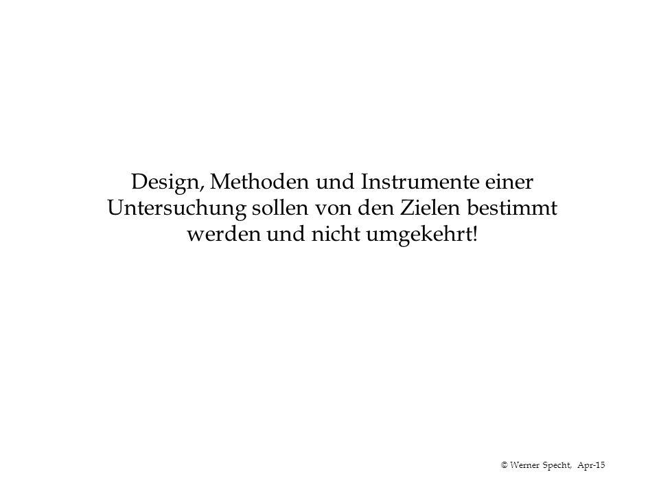 © Werner Specht, Apr-15 Design, Methoden und Instrumente einer Untersuchung sollen von den Zielen bestimmt werden und nicht umgekehrt!
