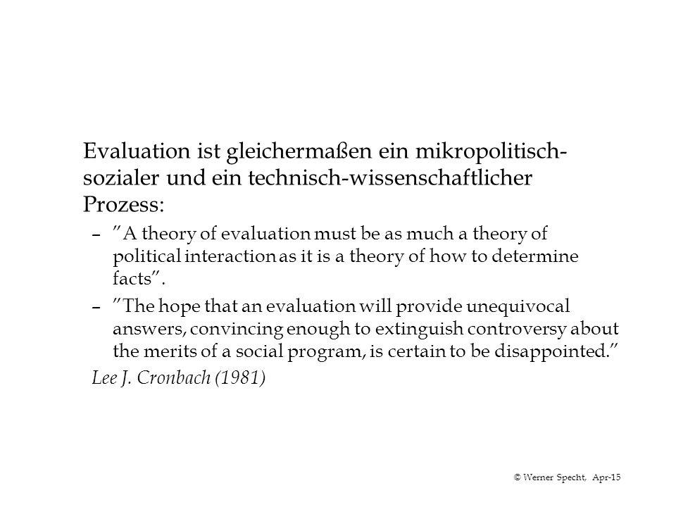 """© Werner Specht, Apr-15 Evaluation ist gleichermaßen ein mikropolitisch- sozialer und ein technisch-wissenschaftlicher Prozess: –""""A theory of evaluati"""