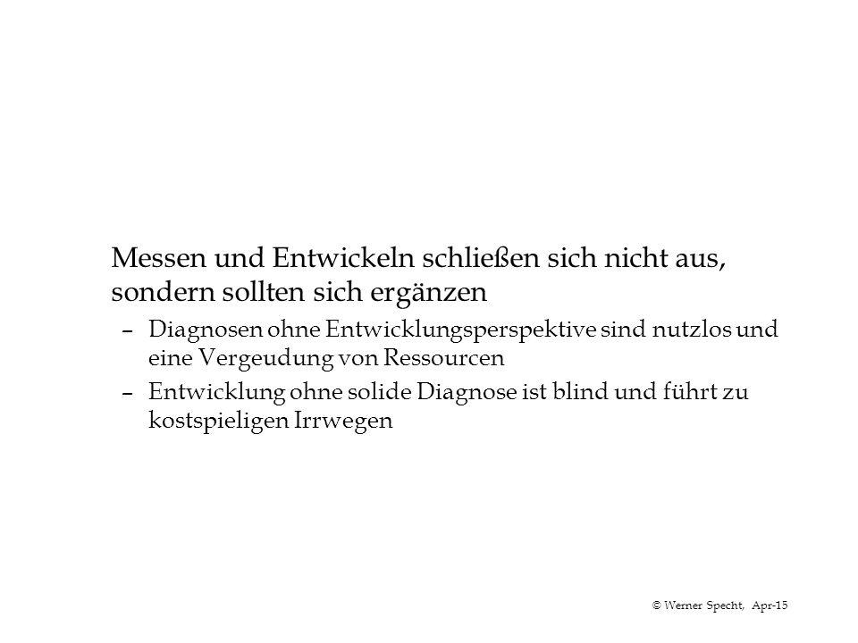 © Werner Specht, Apr-15 Messen und Entwickeln schließen sich nicht aus, sondern sollten sich ergänzen –Diagnosen ohne Entwicklungsperspektive sind nut