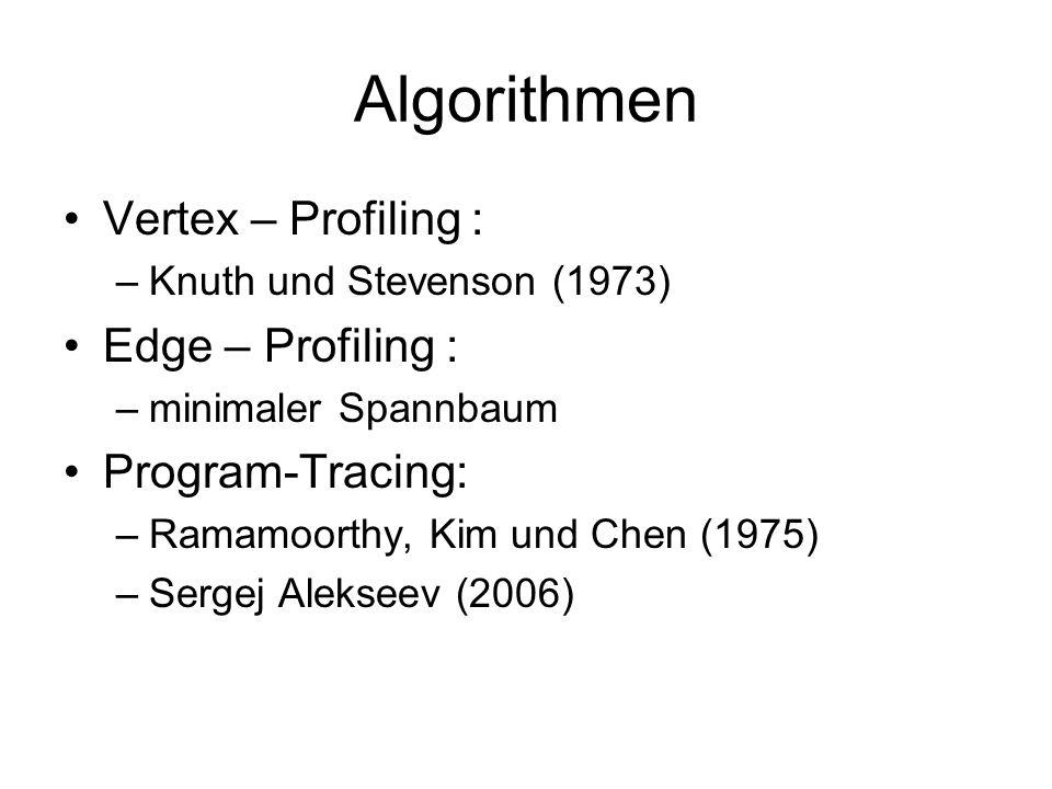 Algorithmen Vertex – Profiling : –Knuth und Stevenson (1973) Edge – Profiling : –minimaler Spannbaum Program-Tracing: –Ramamoorthy, Kim und Chen (1975