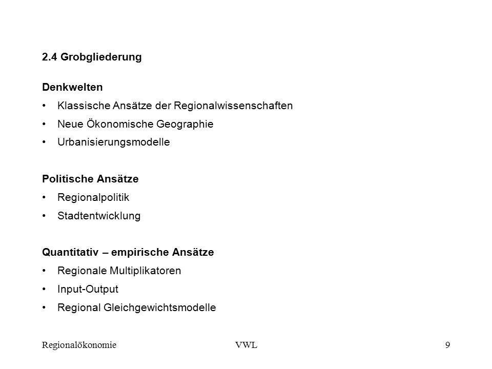RegionalökonomieVWL9 2.4 Grobgliederung Denkwelten Klassische Ansätze der Regionalwissenschaften Neue Ökonomische Geographie Urbanisierungsmodelle Politische Ansätze Regionalpolitik Stadtentwicklung Quantitativ – empirische Ansätze Regionale Multiplikatoren Input-Output Regional Gleichgewichtsmodelle