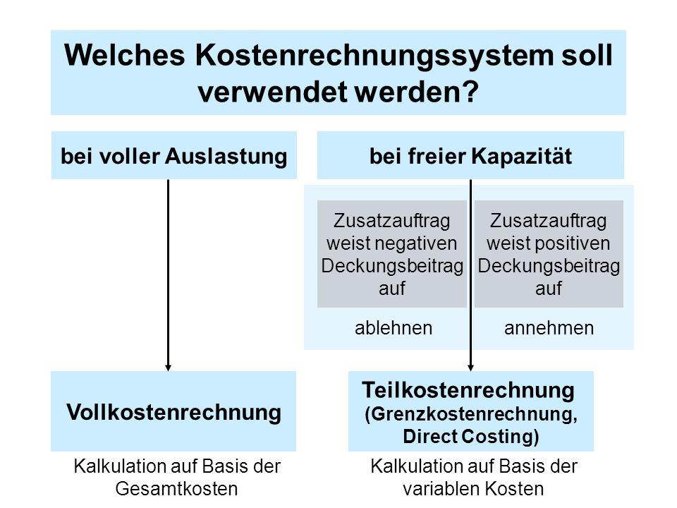 Welches Kostenrechnungssystem soll verwendet werden? bei voller Auslastungbei freier Kapazität Zusatzauftrag weist negativen Deckungsbeitrag auf Zusat