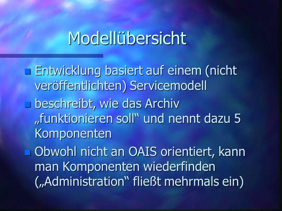 """Modellübersicht n Entwicklung basiert auf einem (nicht veröffentlichten) Servicemodell n beschreibt, wie das Archiv """"funktionieren soll und nennt dazu 5 Komponenten n Obwohl nicht an OAIS orientiert, kann man Komponenten wiederfinden (""""Administration fließt mehrmals ein)"""