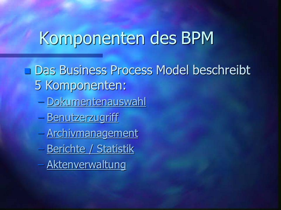 Komponenten des BPM n Das Business Process Model beschreibt 5 Komponenten: –Dokumentenauswahl Dokumentenauswahl –Benutzerzugriff Benutzerzugriff –Archivmanagement Archivmanagement –Berichte / Statistik Berichte / StatistikBerichte / Statistik –Aktenverwaltung Aktenverwaltung