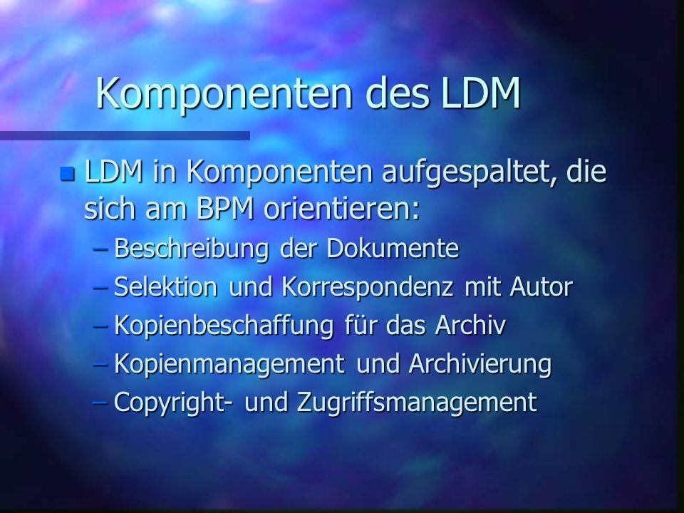 Komponenten des LDM n LDM in Komponenten aufgespaltet, die sich am BPM orientieren: –Beschreibung der Dokumente –Selektion und Korrespondenz mit Autor –Kopienbeschaffung für das Archiv –Kopienmanagement und Archivierung –Copyright- und Zugriffsmanagement