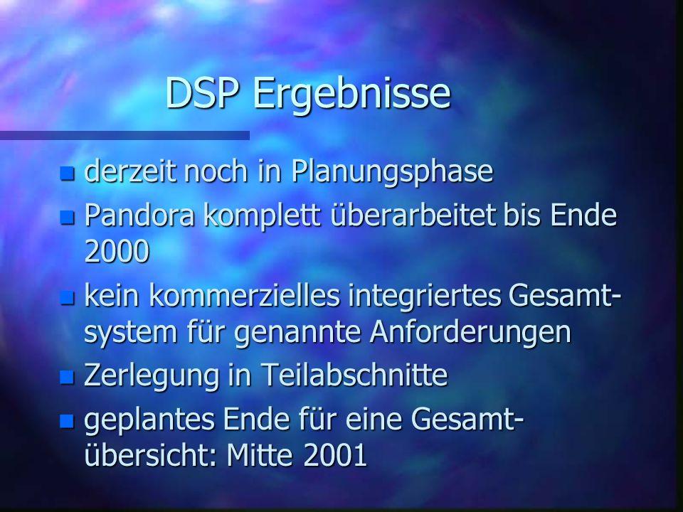 DSP Ergebnisse n derzeit noch in Planungsphase n Pandora komplett überarbeitet bis Ende 2000 n kein kommerzielles integriertes Gesamt- system für genannte Anforderungen n Zerlegung in Teilabschnitte n geplantes Ende für eine Gesamt- übersicht: Mitte 2001