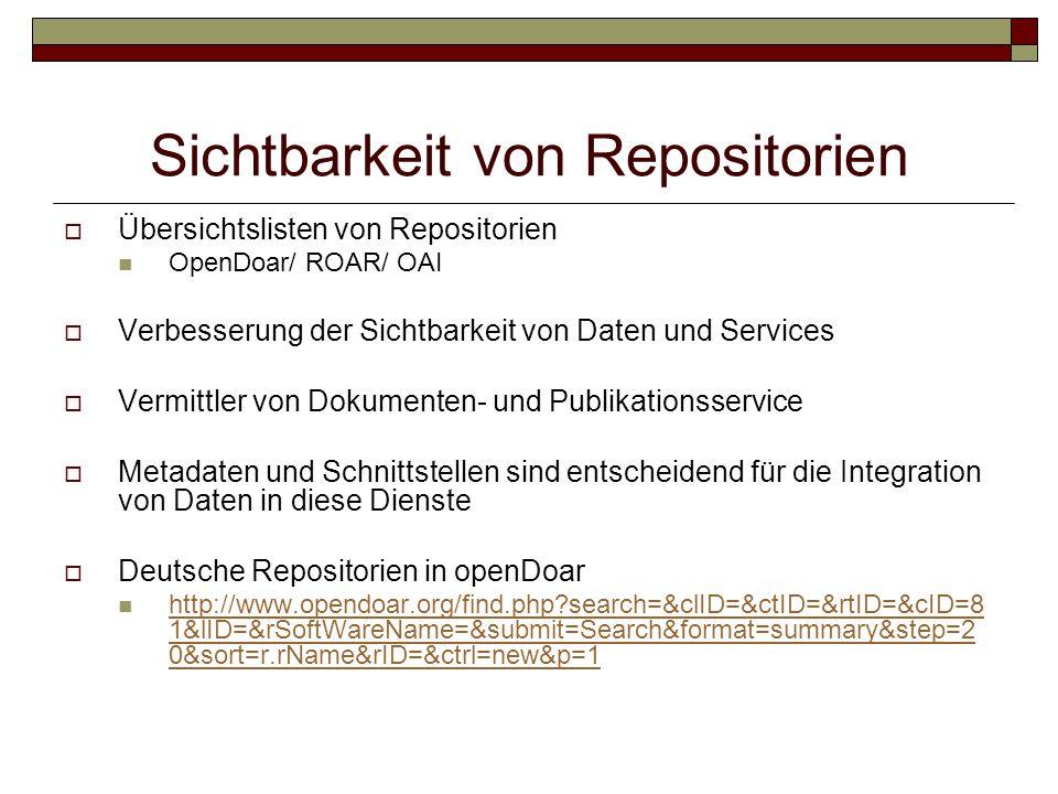 Sichtbarkeit von Repositorien  Übersichtslisten von Repositorien OpenDoar/ ROAR/ OAI  Verbesserung der Sichtbarkeit von Daten und Services  Vermittler von Dokumenten- und Publikationsservice  Metadaten und Schnittstellen sind entscheidend für die Integration von Daten in diese Dienste  Deutsche Repositorien in openDoar http://www.opendoar.org/find.php?search=&clID=&ctID=&rtID=&cID=8 1&lID=&rSoftWareName=&submit=Search&format=summary&step=2 0&sort=r.rName&rID=&ctrl=new&p=1 http://www.opendoar.org/find.php?search=&clID=&ctID=&rtID=&cID=8 1&lID=&rSoftWareName=&submit=Search&format=summary&step=2 0&sort=r.rName&rID=&ctrl=new&p=1