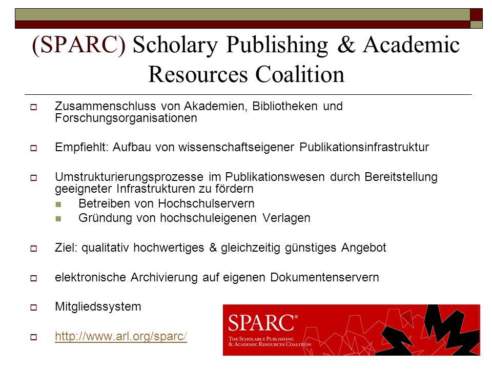 (SPARC) Scholary Publishing & Academic Resources Coalition  Zusammenschluss von Akademien, Bibliotheken und Forschungsorganisationen  Empfiehlt: Auf