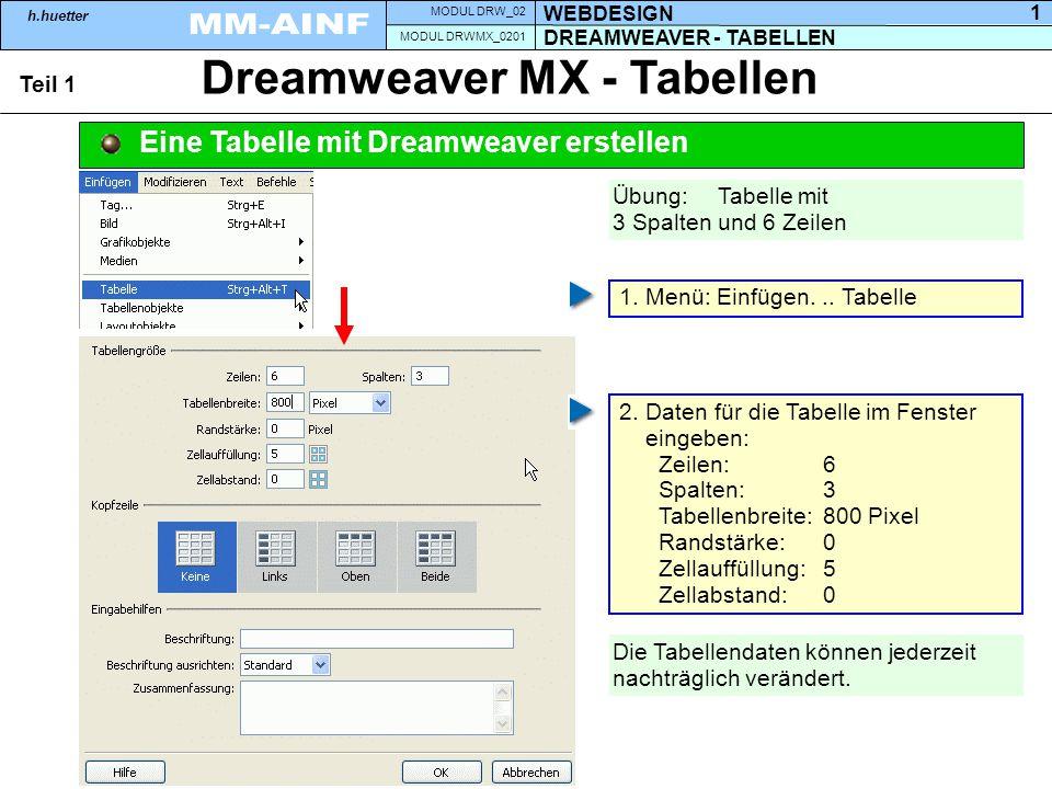 DREAMWEAVER - TABELLEN MODUL DRWMX_0201 WEBDESIGN MODUL DRW_02 h.huetter 1 Dreamweaver MX - Tabellen Teil 1 Eine Tabelle mit Dreamweaver erstellen 1.