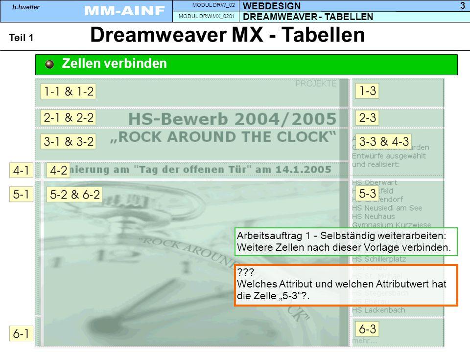 DREAMWEAVER - TABELLEN MODUL DRWMX_0201 WEBDESIGN MODUL DRW_02 h.huetter 3 Dreamweaver MX - Tabellen Teil 1 Zellen verbinden Arbeitsauftrag 1 - Selbständig weiterarbeiten: Weitere Zellen nach dieser Vorlage verbinden.
