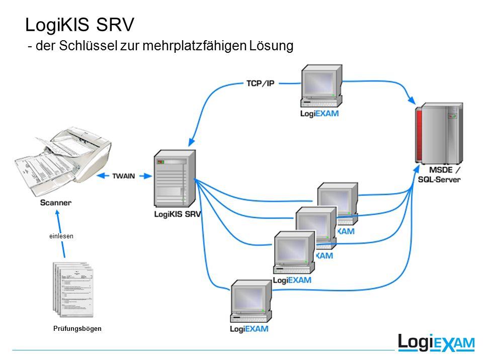 - der Schlüssel zur mehrplatzfähigen Lösung Prüfungsbögen LogiKIS SRV einlesen