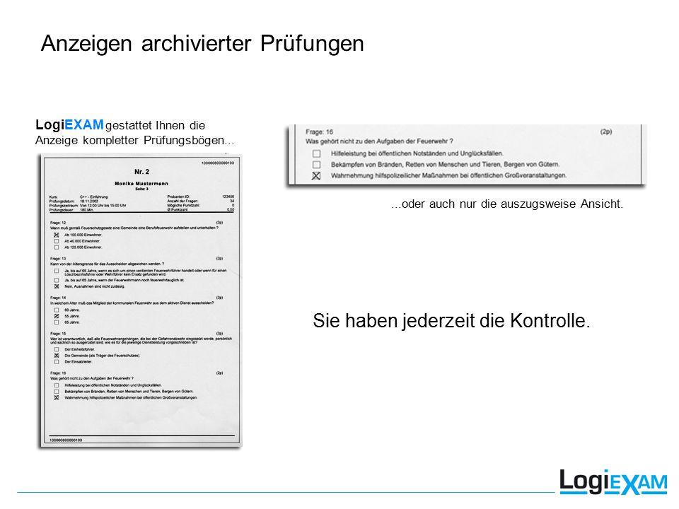 LogiEXAM gestattet Ihnen die Anzeige kompletter Prüfungsbögen......oder auch nur die auszugsweise Ansicht.