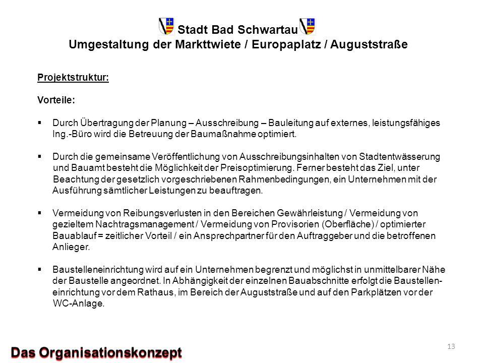 Stadt Bad Schwartau Umgestaltung der Markttwiete / Europaplatz / Auguststraße Projektstruktur: Vorteile:  Durch Übertragung der Planung – Ausschreibu