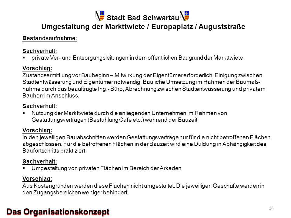 Stadt Bad Schwartau Umgestaltung der Markttwiete / Europaplatz / Auguststraße Bestandsaufnahme: Sachverhalt:  private Ver- und Entsorgungsleitungen i