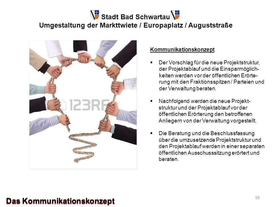 Stadt Bad Schwartau Umgestaltung der Markttwiete / Europaplatz / Auguststraße Kommunikationskonzept  Der Vorschlag für die neue Projektstruktur, der