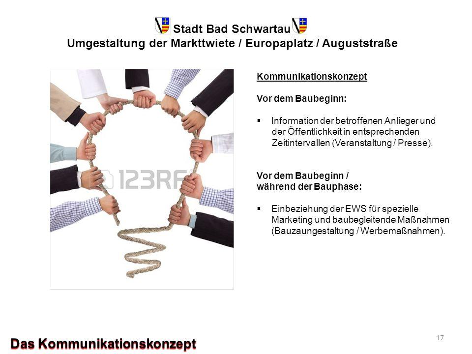 Stadt Bad Schwartau Umgestaltung der Markttwiete / Europaplatz / Auguststraße Kommunikationskonzept Vor dem Baubeginn:  Information der betroffenen A