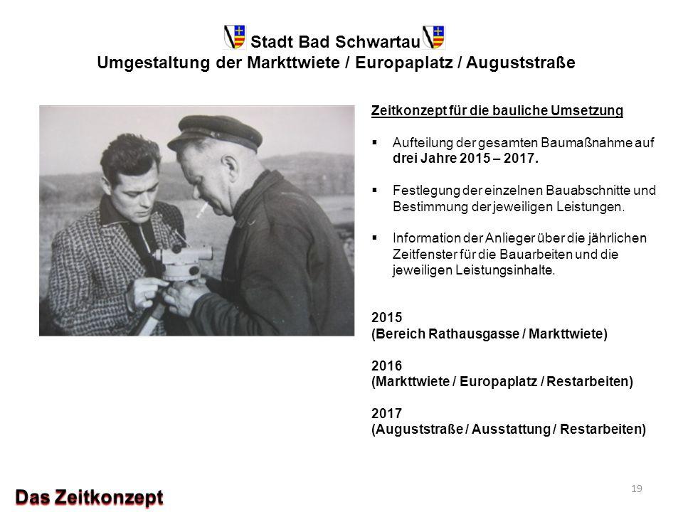 Stadt Bad Schwartau Umgestaltung der Markttwiete / Europaplatz / Auguststraße Zeitkonzept für die bauliche Umsetzung  Aufteilung der gesamten Baumaßn