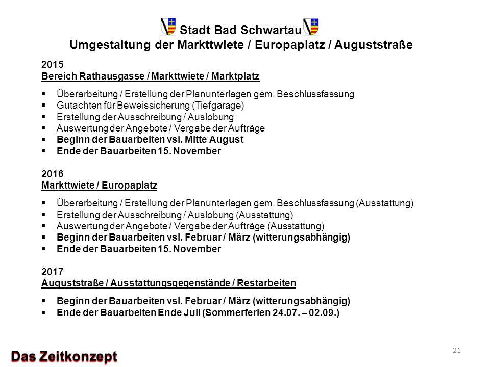 Stadt Bad Schwartau Umgestaltung der Markttwiete / Europaplatz / Auguststraße 2015 Bereich Rathausgasse / Markttwiete / Marktplatz  Überarbeitung / E