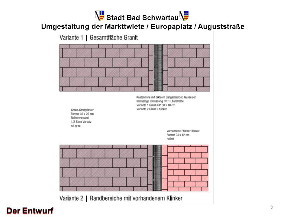 Stadt Bad Schwartau Umgestaltung der Markttwiete / Europaplatz / Auguststraße 9 Musterfläche für Oberflächenbelag