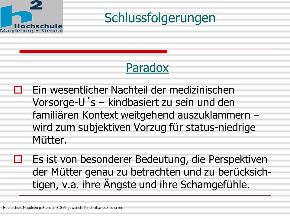 _____________________________________________________________ Hochschule Magdeburg-Stendal, StG Angewandte Kindheitswissenschaften Schlussfolgerungen Paradox  Ein wesentlicher Nachteil der medizinischen Vorsorge-U´s – kindbasiert zu sein und den famili ä ren Kontext weitgehend auszuklammern – wird zum subjektiven Vorzug f ü r status-niedrige M ü tter.