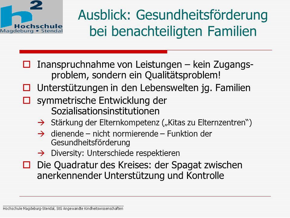 _____________________________________________________________ Hochschule Magdeburg-Stendal, StG Angewandte Kindheitswissenschaften  Inanspruchnahme von Leistungen – kein Zugangs- problem, sondern ein Qualitätsproblem.