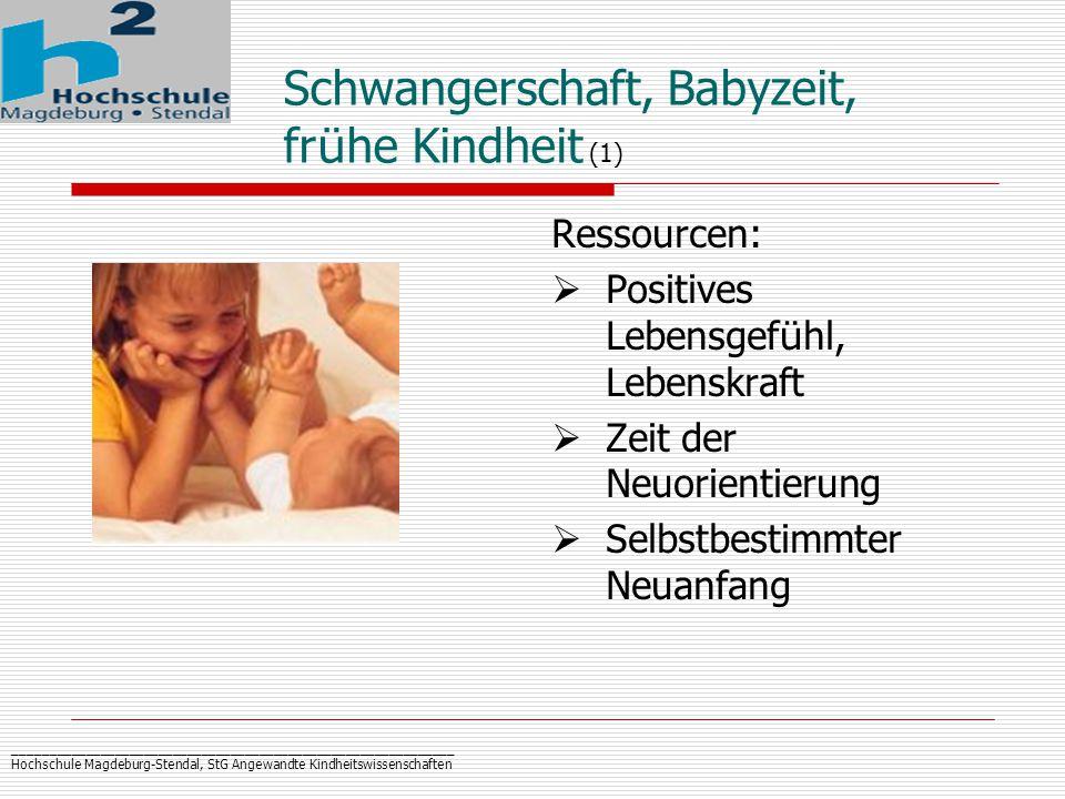 _____________________________________________________________ Hochschule Magdeburg-Stendal, StG Angewandte Kindheitswissenschaften Schwangerschaft, Babyzeit, fr ü he Kindheit (1) Ressourcen:  Positives Lebensgef ü hl, Lebenskraft  Zeit der Neuorientierung  Selbstbestimmter Neuanfang