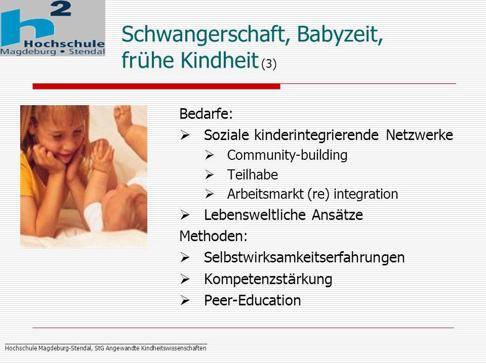 _____________________________________________________________ Hochschule Magdeburg-Stendal, StG Angewandte Kindheitswissenschaften Schwangerschaft, Babyzeit, fr ü he Kindheit (3) Bedarfe:  Soziale kinderintegrierende Netzwerke  Community-building  Teilhabe  Arbeitsmarkt (re) integration  Lebensweltliche Ans ä tze Methoden:  Selbstwirksamkeitserfahrungen  Kompetenzst ä rkung  Peer-Education