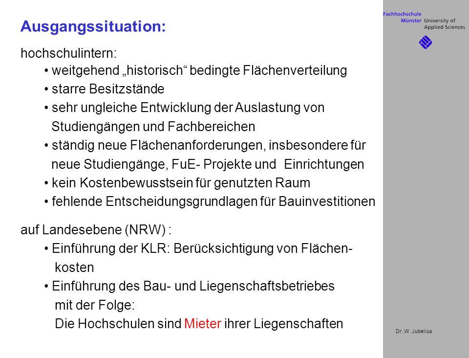 """Dr. W. Jubelius Ausgangssituation: hochschulintern: weitgehend """"historisch"""" bedingte Flächenverteilung starre Besitzstände sehr ungleiche Entwicklung"""
