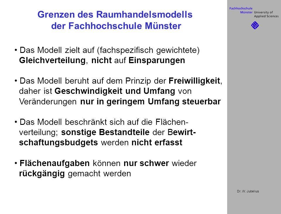 Dr. W. Jubelius Das Modell zielt auf (fachspezifisch gewichtete) Gleichverteilung, nicht auf Einsparungen Das Modell beruht auf dem Prinzip der Freiwi