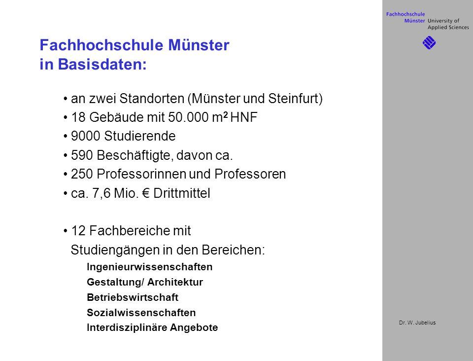 Dr. W. Jubelius Fachhochschule Münster in Basisdaten: an zwei Standorten (Münster und Steinfurt) 18 Gebäude mit 50.000 m 2 HNF 9000 Studierende 590 Be