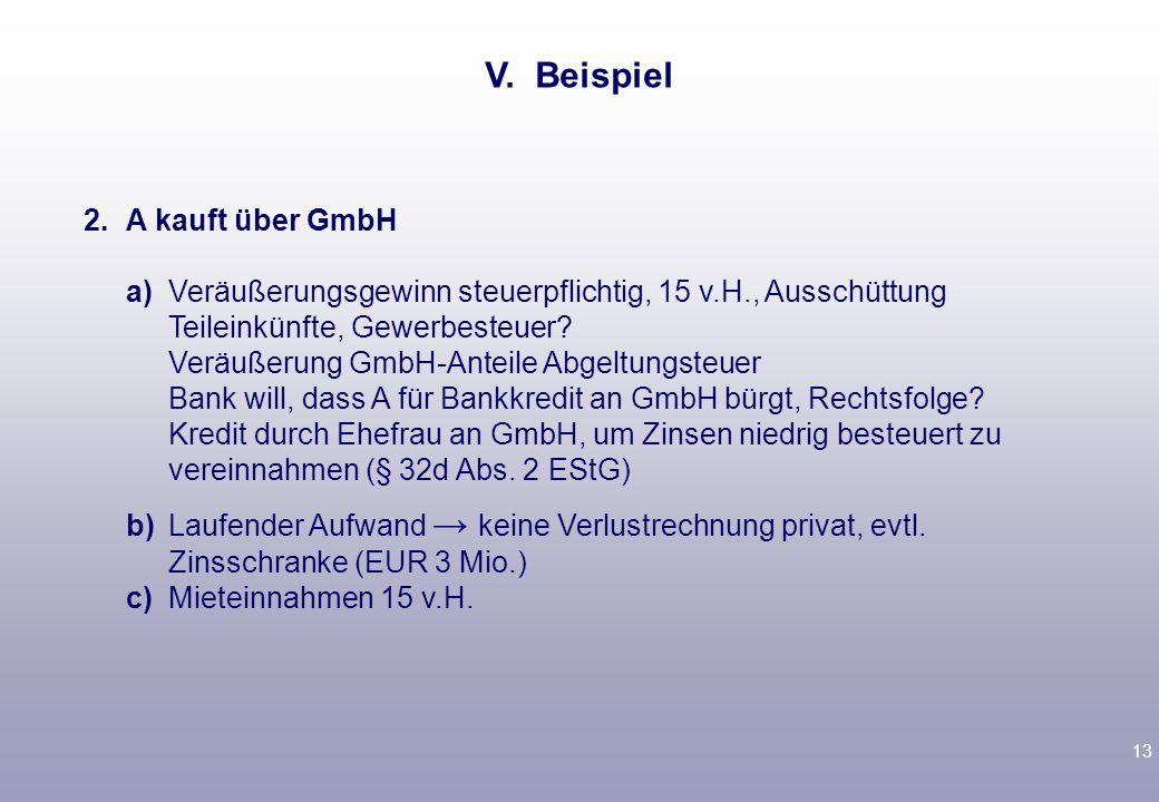 13 2.A kauft über GmbH a)Veräußerungsgewinn steuerpflichtig, 15 v.H., Ausschüttung Teileinkünfte, Gewerbesteuer.