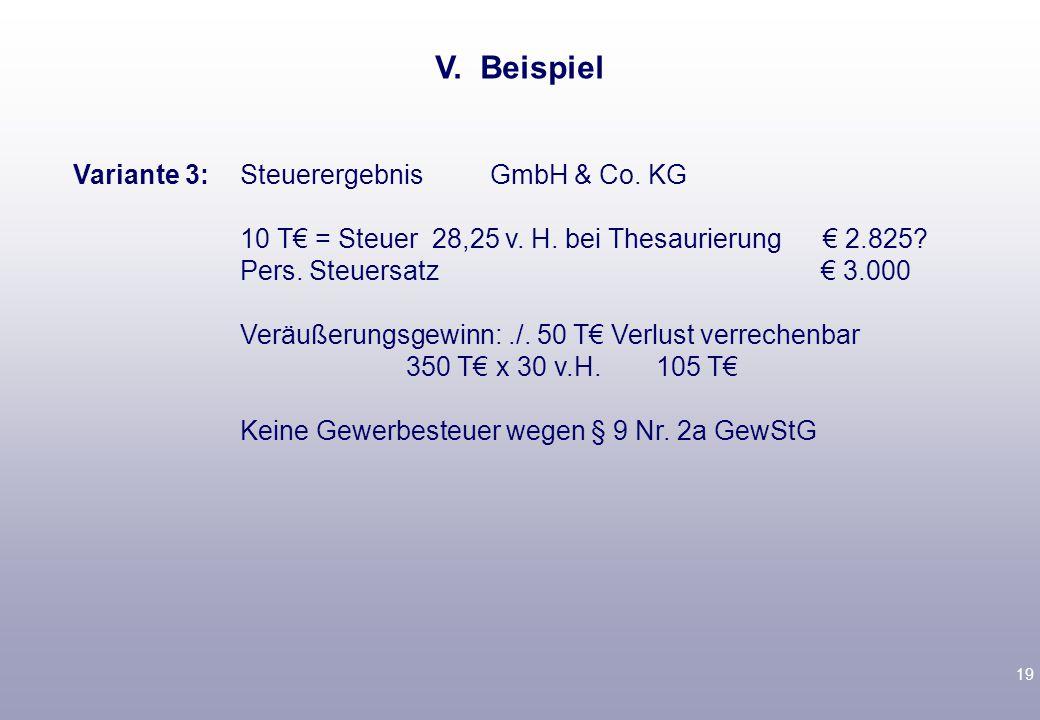 19 Variante 3: Steuerergebnis GmbH & Co. KG 10 T€ = Steuer 28,25 v.